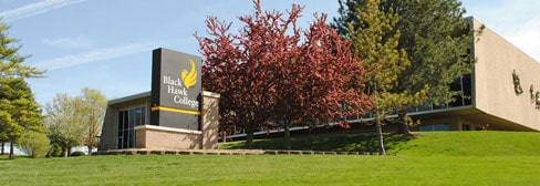 Quad-Cities Campus sign and Building 1