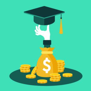 money bag with coins surrounding and hand coming out of money bag holding grad cap