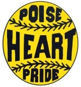 "yellow baseball says ""POISE HEART PRIDE"""