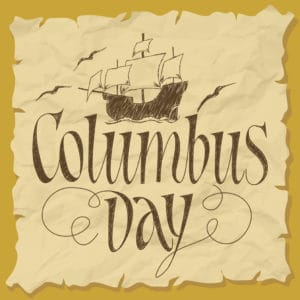 """torn paper says """"Columbus Day"""" with drawing of ship and seagulls"""