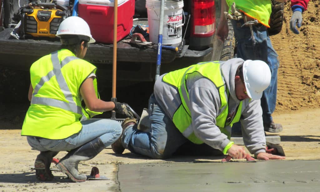 Highway Construction participants working outside