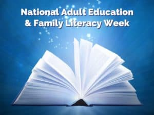 Adult Education Family Literacy Week open book