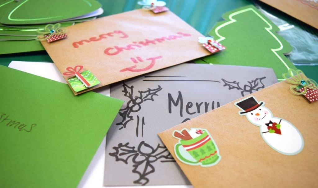 pile of handmade Christmas cards