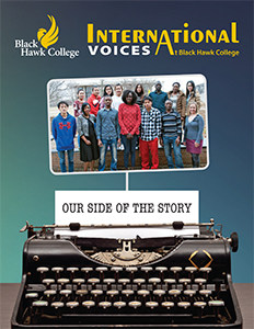 International Voices Magazine Cover with group of ESL writing students