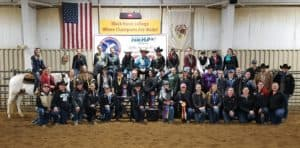 group of equine students in the arena
