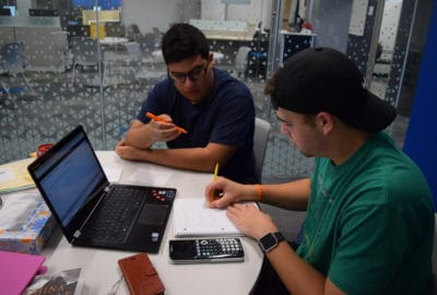 Student and tutor working together at the tutoring center