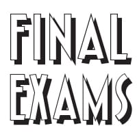 final exams stacked text