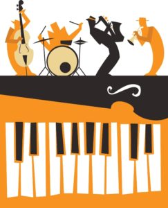 orange black white illustration 4 musicians & piano keys