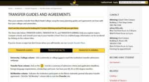 transfer guides and agreements BHC website page