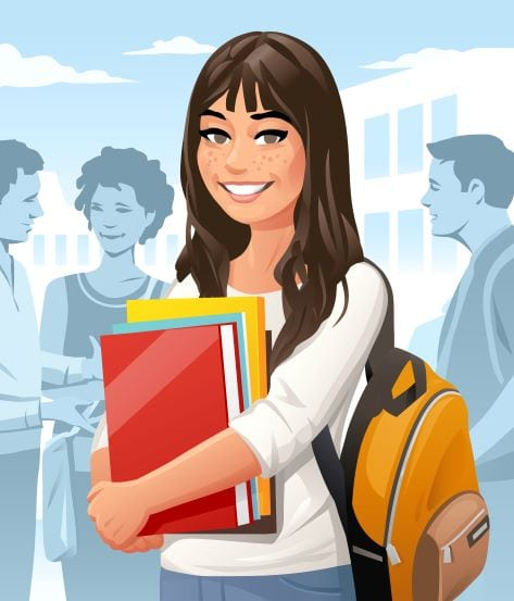 illustration of smiling female student with books and backpack