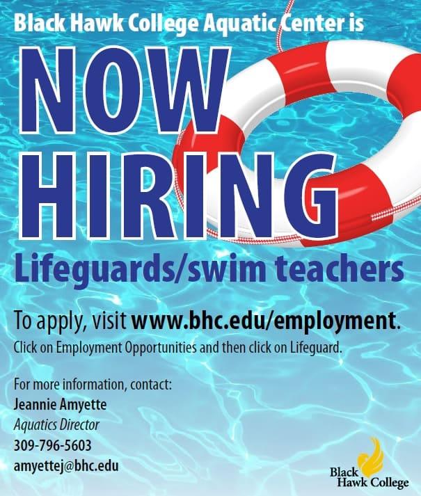 Now Hiring Lifeguards go to bch.edu/employment
