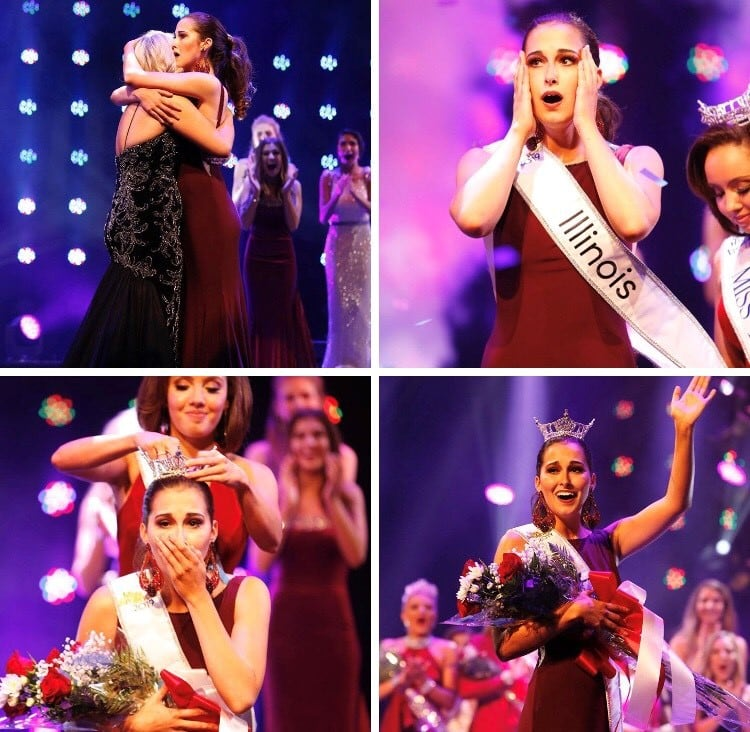 collage featuring Miss Illinois reacting to finding out she won, being crowned and waving while holding a bouquet of flowers