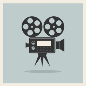 illustration of old time movie camera