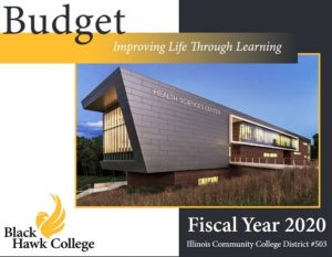 Budget cover showing health sciences building