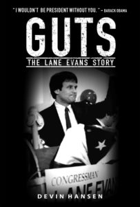 Guts: The Lane Evans Story book cover picturing Evans