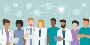 illustration of 8 health care professionals