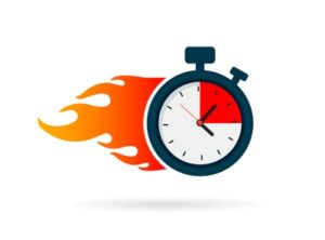 "stopwatch with flames to illustrate ""fast"""