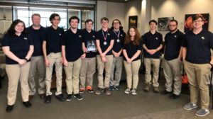 group of students with 1st place plaque