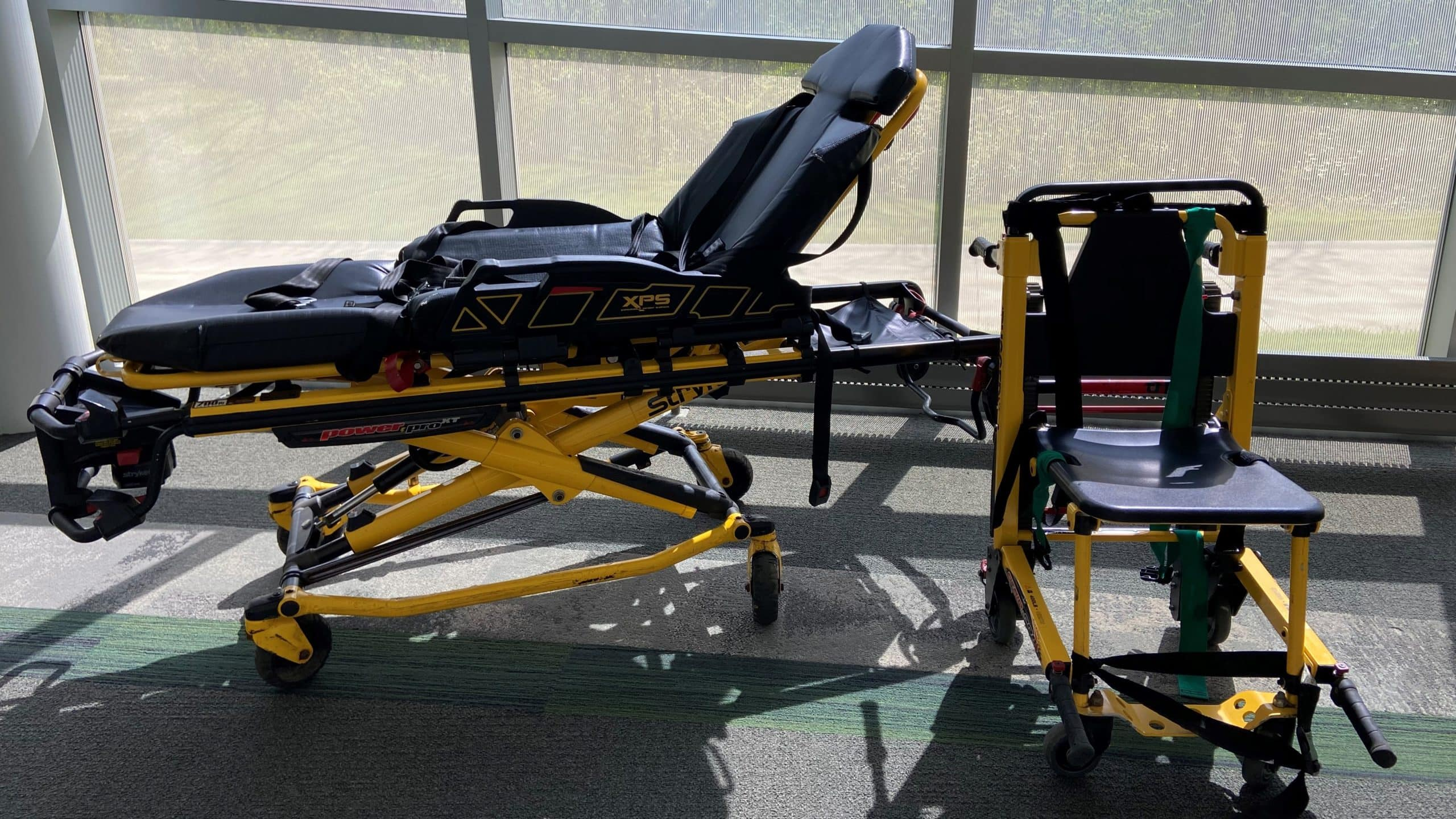 Stryker cot and Stryker chair for EMS