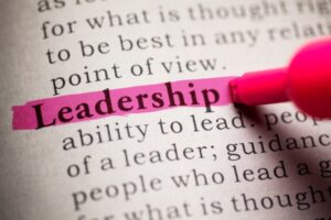 block of typed text with leadership highlighed in pink