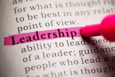 block of typed text with leadership highlighted in pink
