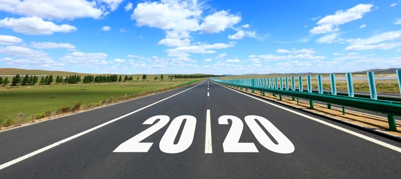 2020 numerals on a road