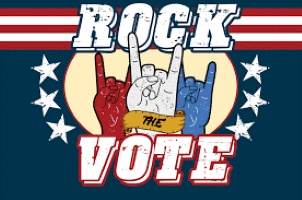 Rock the Vote text & graphic with 3 hands