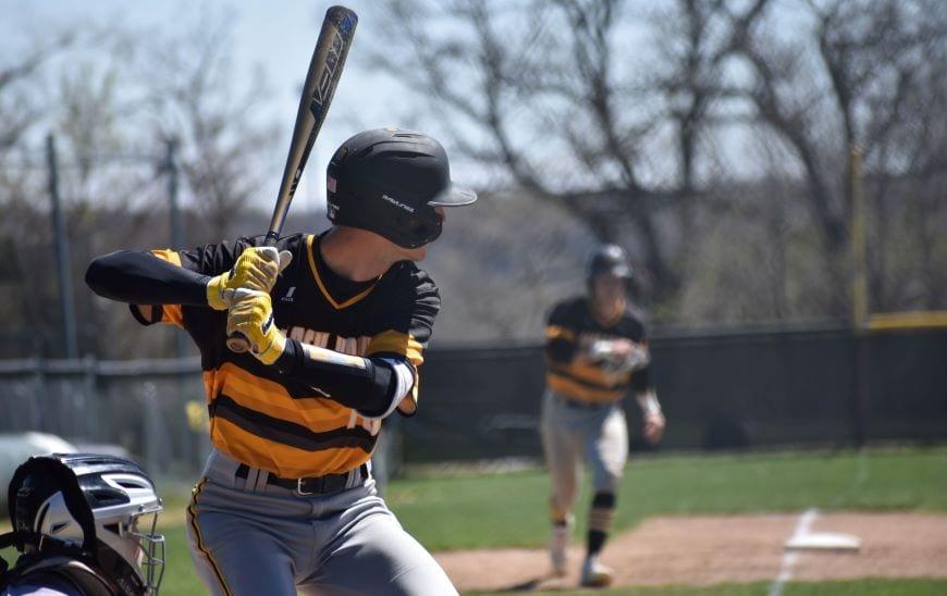 Player at bat with runner at third base