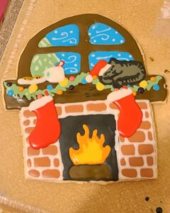 decorated cookie fireplace, window & stockings