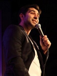 comedian with microphone