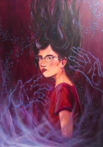 painting of hands reaching for girl wearing glasses