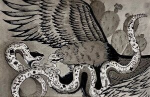 drawing of golden eagle grasping snake
