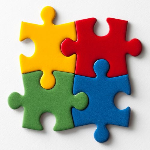 4 connected puzzle pieces
