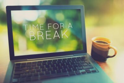 """Time for a break"" on laptop screen"
