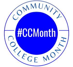 circular logo with #CCMonth in the middle and Community College Month on the edge