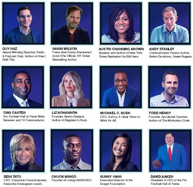 panel of photos showing the various speakers at Leadercast