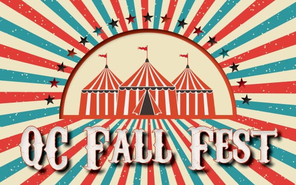 3 circus tents with text QC Fall Fest