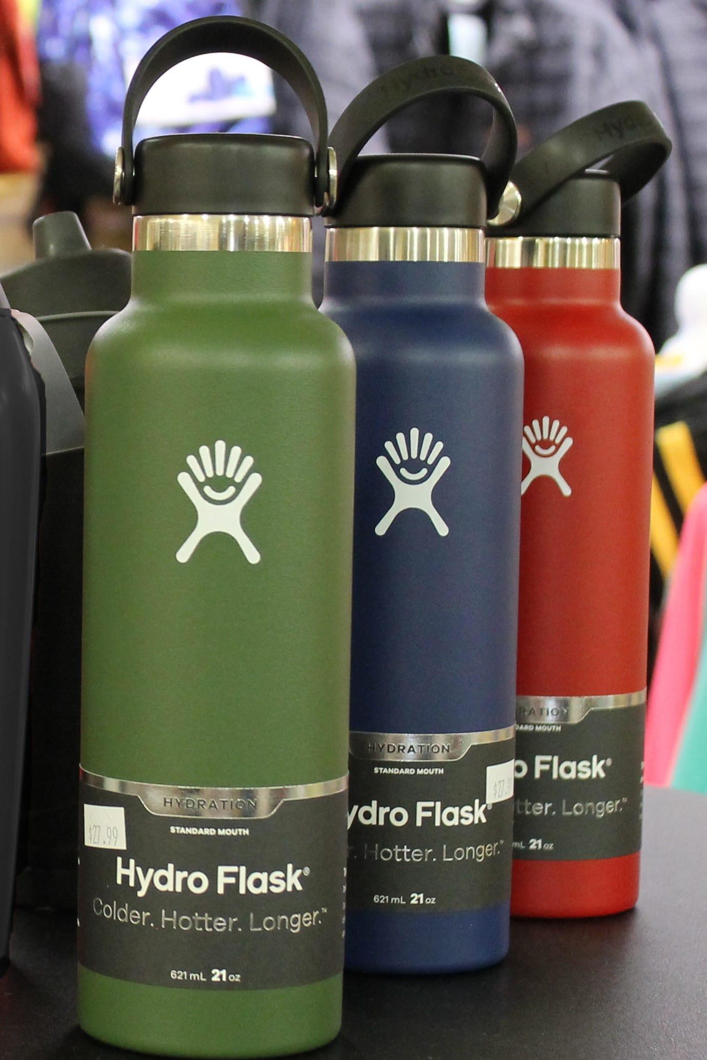 3 Hydro Flask metal water bottles