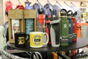 display of mugs and water bottles