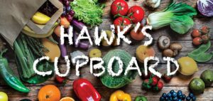 fruits & veggies with text Hawk's Cupboard