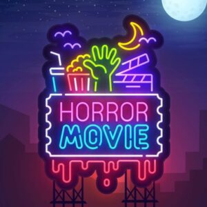 neon light of horror movie text and icons
