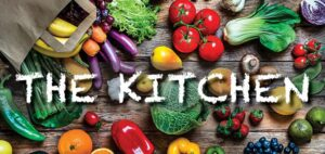 fruits & veggies with text The Kitchen