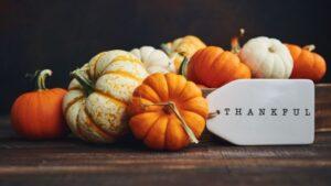 mini pumpkins and tag that says thankful
