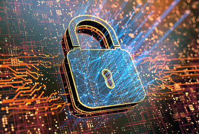 Digital background depicting innovative technologies in security